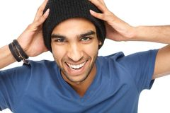 一个笑的人的画象有黑帽会议的 免版税库存图片