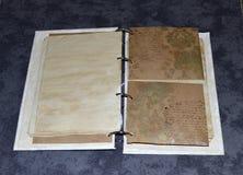 一个笔记本的里面页有手写的样式的无意义的模仿的 图库摄影