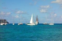 一个筏航行到海军部海湾里 库存照片
