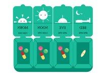 一个箱子医学,传染媒介例证,平的设计,每日药物医学组织者,医学存贮  库存照片