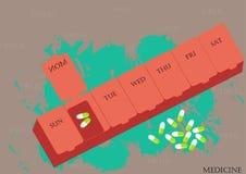 一个箱子医学,传染媒介例证,平的设计,每日药物医学组织者,医学,科学存贮  免版税图库摄影