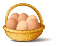 一个篮子用六个鸡蛋 免版税库存图片