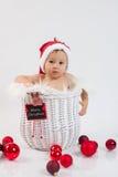 一个篮子的男孩在圣诞节时间 免版税图库摄影