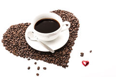 Coffee_heart_beans 免版税库存图片
