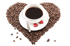 Coffee_hearts_beans 免版税图库摄影