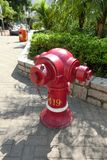 一个红火消防栓在香港 库存图片