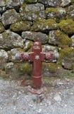 一个红火消防栓对石墙 库存照片