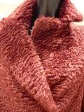 一个红色典雅的外套衣领的细节 库存图片