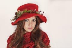 一个红色帽子和一个花圈的美丽的女孩与在一条被编织的围巾的杉木锥体 时尚,样式,圣诞节 免版税图库摄影