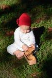 一个红色帽子的小女孩采取酥皮点心在篮子外面 库存图片