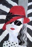 一个红色帽子的时尚女孩 画手工纸的丙烯酸酯的颜色 皇族释放例证
