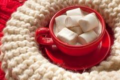 一个红色杯子可可粉用蛋白软糖和灰棕色编织了红色表面上的围巾 图库摄影