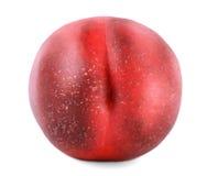 一个红色油桃的顶视图,隔绝在白色背景 开胃美丽的果子,有很多维生素 素食主义者 库存图片