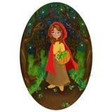 一个红色盖帽的女孩在夜森林里 向量例证