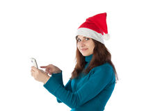 一个红色盖帽的女孩 库存图片