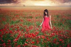 一个红色礼服跳舞鸦片领域在日落,洁净和无罪的,与自然的团结秀丽妇女 免版税图库摄影