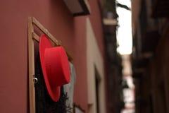一个红色骑士帽子 免版税库存图片
