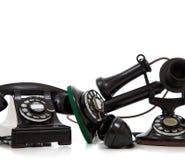 一个组在白色的葡萄酒电话 免版税库存图片