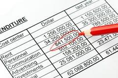 一个统计数据的编号与红色铅笔的。 美国。 免版税库存图片