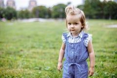 一个绿色草甸的美丽的愉快的矮小的女婴自然的在公园 免版税库存图片