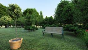 一个罐和一条长凳在绿色公园 库存例证