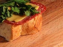 一个美丽和开胃三明治用香肠乳酪和绿色 免版税库存图片