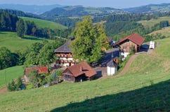 一个美丽如画的风景的风景看法与山森林和传统房子的 黑森林德国 免版税库存图片