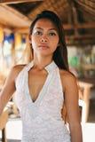 一个美丽的亚裔女孩的性感的画象暑假 免版税图库摄影