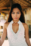 一个美丽的亚裔女孩的性感的画象暑假 库存照片