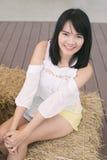 一个美丽的亚洲少妇特写镜头的画象 免版税库存照片