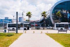 一个美丽的城市的公交车站有棕榈树的 免版税库存照片