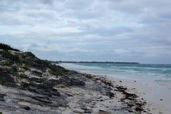 一个美丽的多岩石的海滩的看法与白色沙子的在古巴 免版税库存图片
