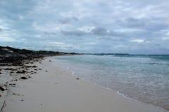 一个美丽的多岩石的海滩的看法与白色沙子的在古巴 免版税库存照片