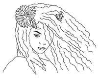 一个美丽的女孩剪影的面孔,例证,有长的头发的一个少妇 图库摄影