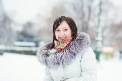 一个美丽的女孩的冬天纵向 库存图片