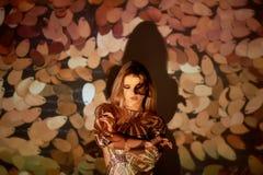 一个美丽的女孩的抽象画象根据放映机的 温暖的树荫 金黄衣服饰物之小金属片 脆弱感觉  图库摄影