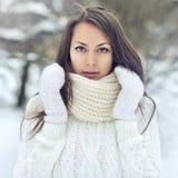 一个美丽的女孩的特写镜头画象在冬天公园 免版税库存图片