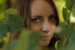 一个美丽的女孩的画象树叶子的,特写镜头 库存图片