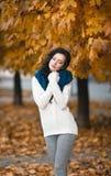 一个美丽的女孩的秋天画象 图库摄影