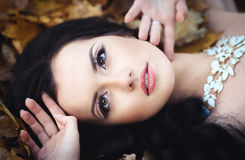 一个美丽的女孩的秋天画象 免版税库存照片