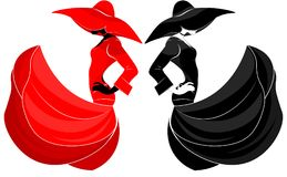 一个美丽的女孩的空中剪影一个礼服和帽子的在时尚样式的风,黑和红色,在被隔绝的背景 向量例证