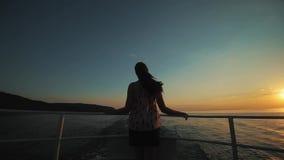 一个美丽的女孩的背面图有站立在船上和转动她的头的马尾辫的在不同的边 头发她 股票录像