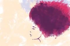 一个美丽的女孩的水彩剪影有弯曲的头发外形的 库存照片
