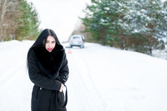 一个美丽的女孩的画象一个冬天的背景的 免版税图库摄影