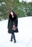 一个美丽的女孩的画象一个冬天p的背景的 免版税库存图片