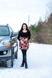 一个美丽的女孩的画象一个冬天p的背景的 库存照片