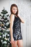 一个美丽的女孩的画象典雅的圣诞节装饰的 图库摄影