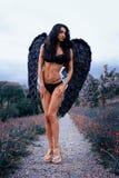 一个美丽的女孩的画象有黑色的飞过邪魔 图库摄影