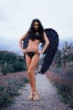 一个美丽的女孩的画象有黑色的飞过邪魔 免版税图库摄影