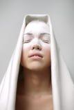 一个美丽的女孩的画象霜的在她的面孔 免版税库存照片